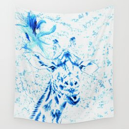 Blue Giraffe Wall Tapestry