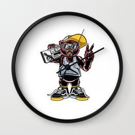 Comic - Cool Bear Fun - bright Wall Clock