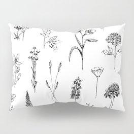 Patagonian wildflowers white Pillow Sham