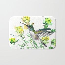 mmingbird design green yew Hummingbird and Yellow Flowers Bath Mat