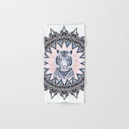 White Tiger Sapphire and Rose Mandala Hand & Bath Towel