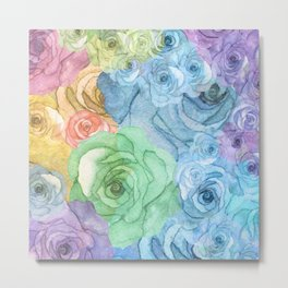 Rainbow Watercolor Bouquet Metal Print