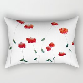 Red flowers in the snow Rectangular Pillow