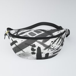 Abstract Black and White Watercolor Brush Lines Bold Modern Painting Design Fanny Pack