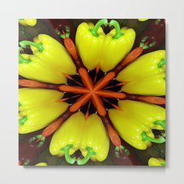 Yellow Pepper Abstract Metal Print