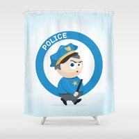 police Shower Curtains featuring Police by Emir Simsek