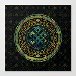 Marble and Abalone Endless Knot  in Mandala Decorative Shape Canvas Print