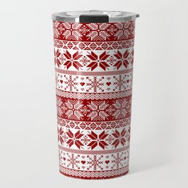 Red Winter Fair Isle Pattern Travel Mug