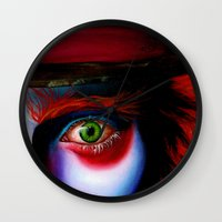 mad hatter Wall Clocks featuring Hatter  by Dominant-ink
