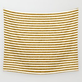Gold Glitter Stripes Wall Tapestry