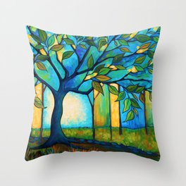 Big Blue Tree Throw Pillow