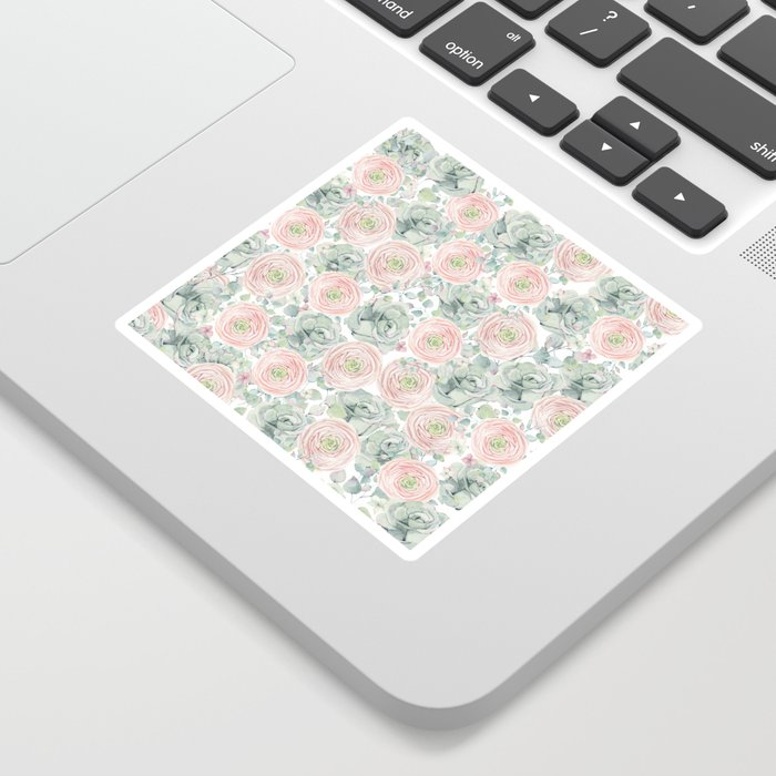 Flowers And Succulents White  #buyart #decor #society6 Sticker