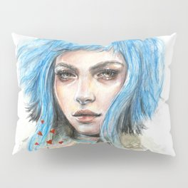 """Flowers"" Mixed media Portrait illustration Pillow Sham"