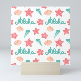 summer pattern background with hand drawn lettering aloha word, seashells, starfishes and flowers Mini Art Print