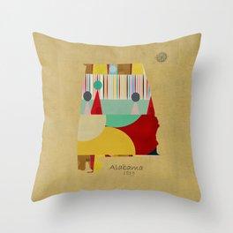Alabama state map  Throw Pillow