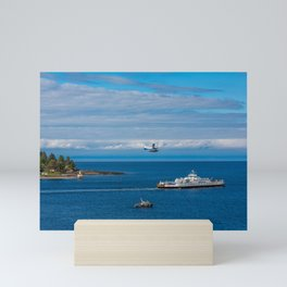 Harbor Patrol Sea Plane and Ferry Mini Art Print