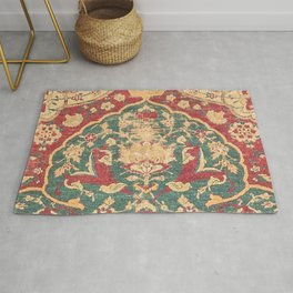 Peonies Kashan II // 16th Century Distressed Colorful Red Tan Light Blue Ornate Accent Rug Pattern Rug