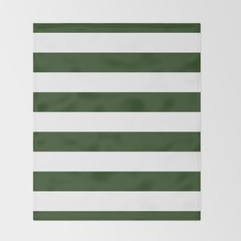 Large Dark Forest Green and White Cabana Tent Stripes Throw Blanket
