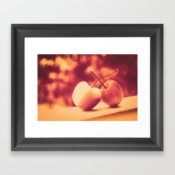 Sweet Moment (Rainier Cherries with Gold & Wine Red Bokeh Background) Framed Art Print