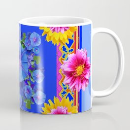 BUTTERFLIES FUCHSIA DAHLIA SUNFLOWER MORNING GLORY BLUE  FLORAL Coffee Mug