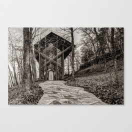 Wooded Pathway to Thorncrown Chapel - Sepia Edition Canvas Print