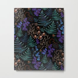 Moody Florals with Fern Leaves Black Metal Print