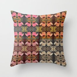 Coneflower Medley, Echinacea Pattern, Midwestern Flowers Throw Pillow
