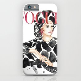 Fashion magazine cover cow animal print iPhone Case