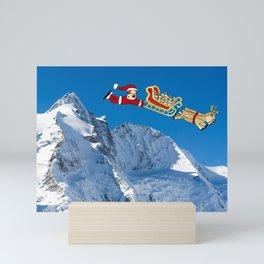Funny Dog Santa Painting and Photograph Mini Art Print