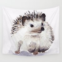 hedgehog Wall Tapestries featuring Hedgehog by Bridget Davidson