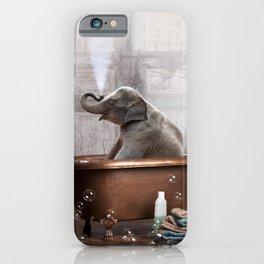 Elephant in Vintage Bathtub iPhone Case