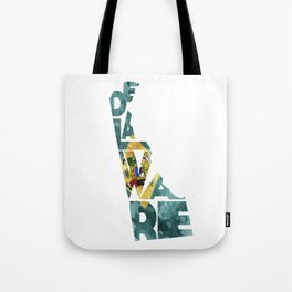 Delaware Typographic Flag Map Art Tote Bag