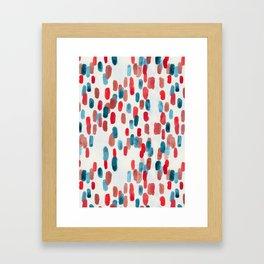 Watercolor Ovals - Red, Blue & Cream Framed Art Print