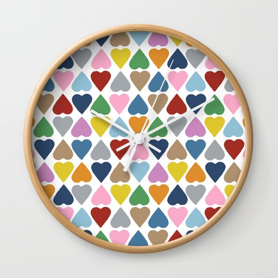 Diamond Hearts Repeat Wall Clock