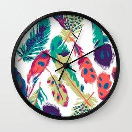 Mixed Feathers Wall Clock
