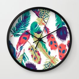 Mixed Feathers Wall Clock