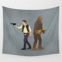 han solo Wall Tapestries featuring Han & Chewie by DWatson