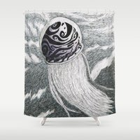 jelly fish Shower Curtains featuring Swirling Jelly Fish by Unique not Freak