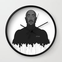 tupac Wall Clocks featuring Tupac portrait by Beitebe