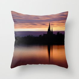Sunset Reflection At The Lichfield Cathedral Throw Pillow