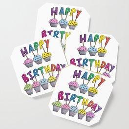 Happy Birthday Cupcakes Coaster