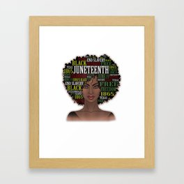 Black Women Natural Hair Afro Word Art Juneteenth   T-Shirt Framed Art Print