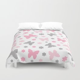 Pink and Grey Butterflies and Flowers Duvet Cover