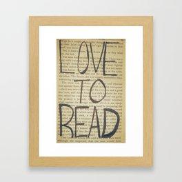 Love To Read Framed Art Print