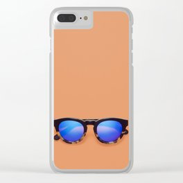 Blue Lens Sunglasses on an Orange Background Clear iPhone Case