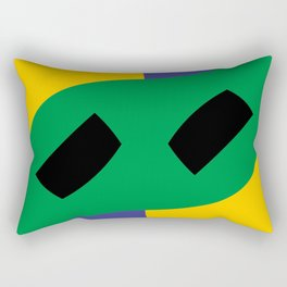 This is a very strange mask for a very strange yellow face. Or maybe it's a boomerang in a black sky Rectangular Pillow