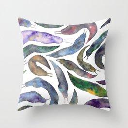 Watercolor Slugs Throw Pillow