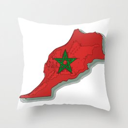 Morocco Map with Moroccan Flag Throw Pillow