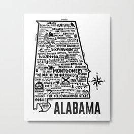 Alabama Map Metal Print