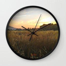 Wheat sunset Wall Clock